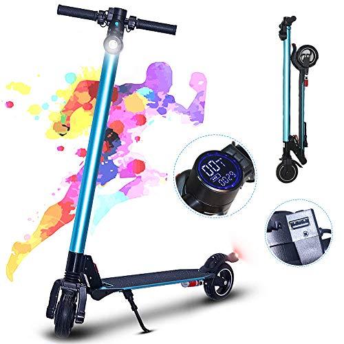 ZH-VBC - Patinete eléctrico para adultos plegable con pantalla LCD, neumáticos sólidos de 6 pulgadas, velocidad máxima 28 km/h, patinete plegable para adultos y adolescentes, azul