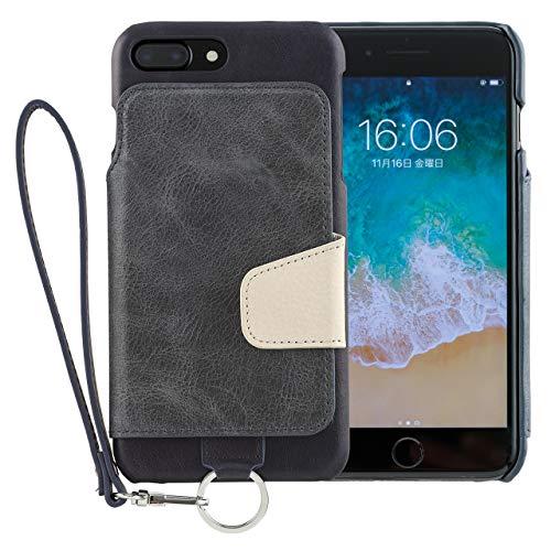 <iPhone8 Plus iPhone7 Plus/新型> RAKUNI (ラクニ) 本革 背面フリップケース/財布いらず/便利な前面むきだし/ストラップ付き/スタンド機能 (インディゴブルー)