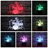 Solo 1 pcs Jazz Drum kit set Usb 3d Led Night Light Multicolor Rgb Boys Kids Baby Gifts Instrumento musical Atmosphere Table Lamp Bedside
