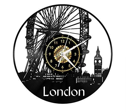London Cityscape - Reloj de pared con diseño moderno en 3D, diseño moderno, para oficina, bar, habitación, decoración del hogar, regalo