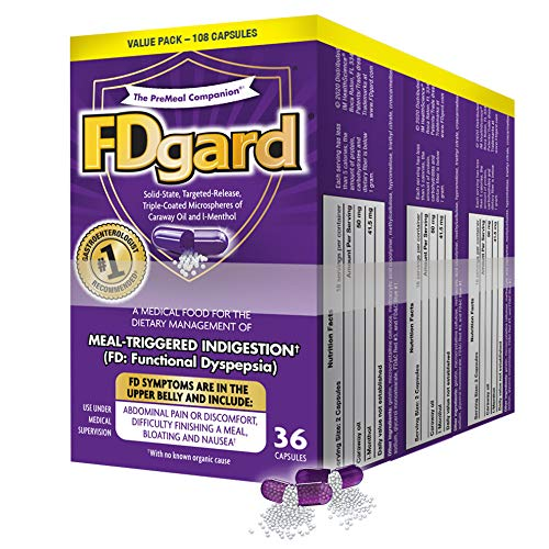 FDgard® for The Dietary Management of Meal-Triggered Indigestion (FD: Functional Dyspepsia) Symptoms Including, Abdominal Discomfort, Difficulty Finishing a Meal, Bloating†*, Nausea, 108 Capsules