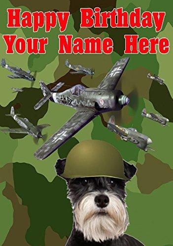 Miniatuur Schnauzer Hond j175 Militair Leger Vliegtuigen Leuke Leuke Gelukkige Verjaardag A5 Gepersonaliseerde Wenskaart gepost door ons geschenken voor alle 2016 van DERBYSHIRE UK