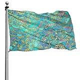 Onled schöne Garten-Flaggen für den Außenbereich, türkises Mandala-Muster, Gartenflaggen   strapazierfähig, Polyester, 122 x 183 cm
