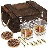 Juego de Madera regalo de vaso de whisky, 4 balas de whisky de oro, 2 vasos de whisky (320ml), Pinzas, 2 Posavasos, Libros de cócteles, para hombres, papá, novio, marido