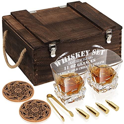 Bicchieri Whisky Set, Squisita Scatola di Legno, 2 Bicchieri Whisky [Rottura del Vetro = Rimborso del 100%], 4 Proiettili di Whisky, Pinze per Il Ghiaccio, 2 Sottobicchiere, per Gli Uomini/Papà/Marito