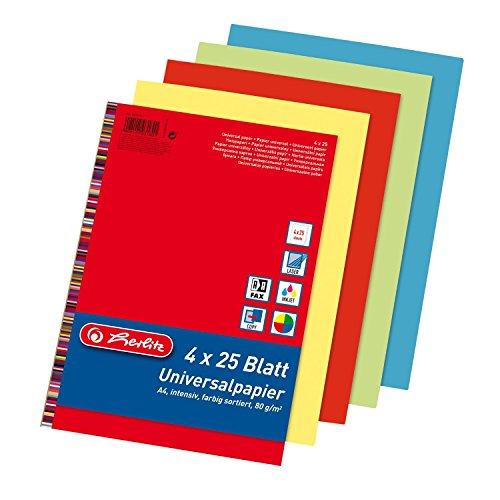 Herlitz 5031604 Universalpapier Colourmix intensiv, A4, 80 g/qm, 100 Blatt farbig sortiert: rot, blau, grün, gelb (2)