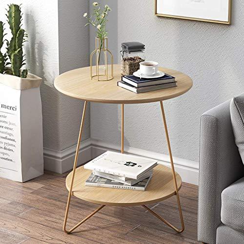 FCXBQ Tische Home D & Eacute; COR Möbel Zweistufiger runder MDF-Beistelltisch Beistelltisch mit Ablagefach für Wohnzimmer (Holzfarbe) Verschiedene Größen Wohnzimmer oder Wohnzimmer