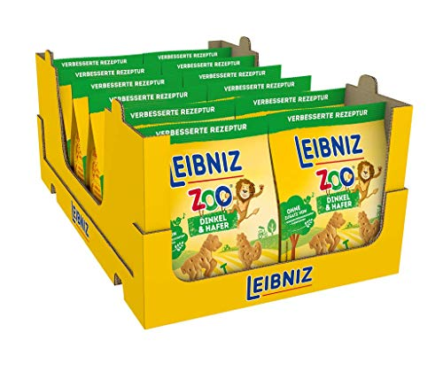 Leibniz Zoo Dinkel & Hafer - 12er Pack - Mini-Kekse mit Dinkel & Hafer in lustigen Tier-Motiven für Kinder - Ohne Palmöl (12 x 125g)