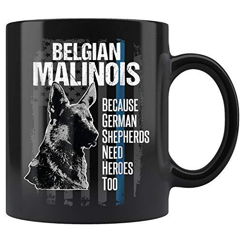 Police Dog Malinois Funny K9 Thin Blue Line Flag Coffee Mug 11oz Tea Cups Gift
