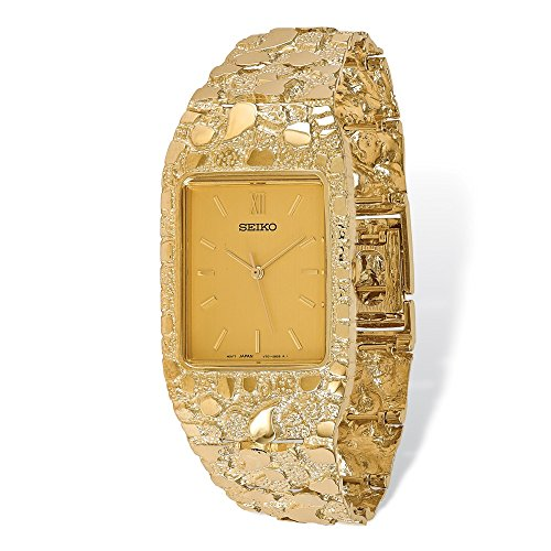 """14k Yellow Gold Men's Squared Champagne 27x47mm Dial Nugget Watch 8"""""""
