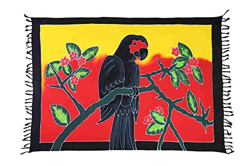 Ciffre Sarong Pareo Wickelrock Strandtuch Tuch Schal Wickelkleid Strandkleid Blickdicht Amazonas - Papagei Handbemalt