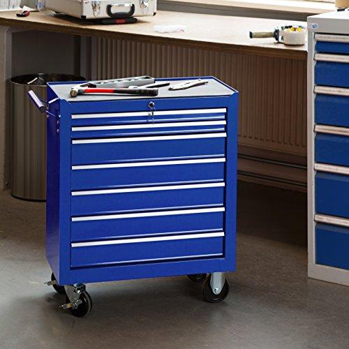 TecTake Werkzeugwagen Werkstattwagen | 7 verschließbare Schubfächer | Kugelgelagerte Gleitschienen | auf Rollen | -diverse Modelle- (Blau | Nr. 402801) - 2
