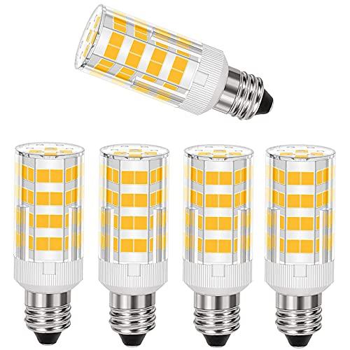 YUJIU E11 LED, All-NewYUJIU LED E11 T4 Mini-Candelabra Light Bulb 4W 40W to 50W Halogen Replacement Warm White 3000K (5 Pack)