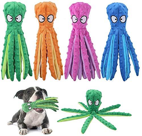 zhenghui Quietschendes Oktopus-Hundespielzeug, Keine Füllung Crinkle Plüsch Hundespielzeug, für kleine bis mittlere Hunde Training und Langeweile reduzieren (4PCS)