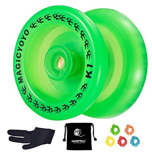 YOSTAR JoJo für Kinder Magic Yoyo K1 Plus Reaktionsschnelles Yoyo Anfänger JoJo + 5 Saiten, Handschuh, Tasche (Grün)