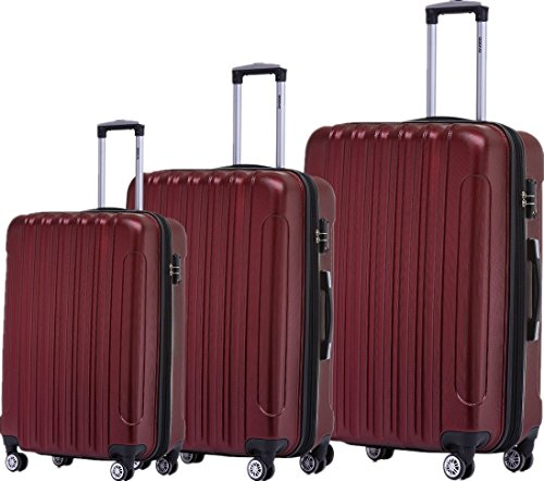 BEIBYE TSA Schloß 2050 Hartschale Trolley Koffer Reisekoffer in M-L-XL-Set (Weinrot, Set)