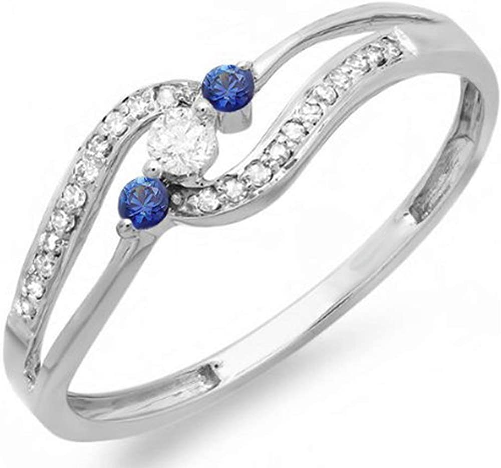 Dazzlingrock Collection 18K Round Blue Sapphire And White Diamond Ladies 3 stone Engagement Promise Ring, White Gold