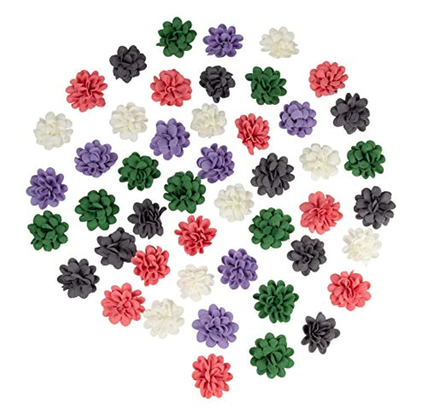 Juvale Bulk 60 Pack Artificial Chiffon Fabric Craft Flower Embellishments, Assorted Colors, 2.8 Inches