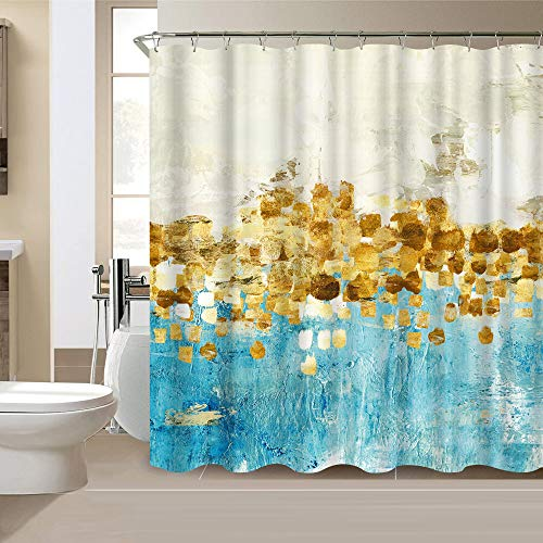 VividHome Bathroom Shower Curtain Set Gold and Blue Abstract Fabric Shower Curtain for Bathtub Showers Waterproof Polyester Design Decorative Bathroom Accessories 72x72 Inch 12-Pack Plastic Hooks