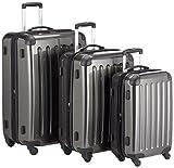 HAUPTSTADTKOFFER - Alex - 3er Koffer-Set Trolley-Set Rollkoffer Reisekoffer Erweiterbar, 4 Rollen, (S, M & L), Graphit