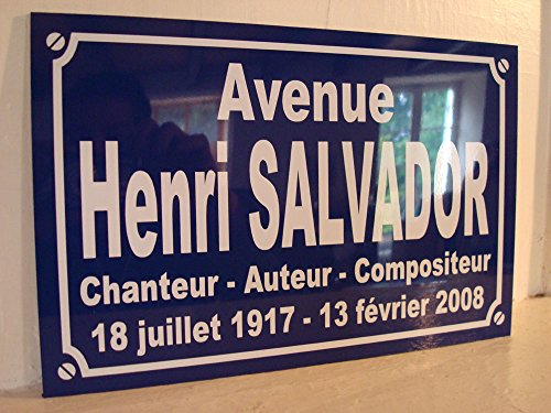 HENRI SALVADOR plaque de rue objet collection cadeau pour fan déco originale