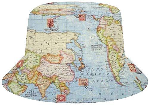 NA Bucket Hats (Unisex) breite Krempe Outdoor Sommer Cap | Wandern, Strand, Sport Pfeil Einheitsgröße Atlas Weltkarte Blue Travel