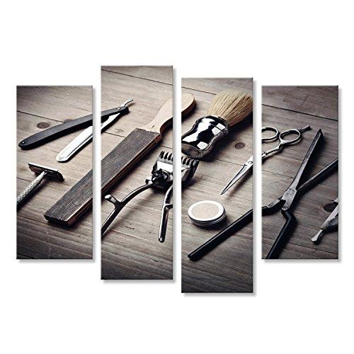 islandburner, Quadro moderno Attrezzatura d'annata del negozio di barbiere su fondo di legno Stampa su tela - Quadri mode Stampa su tela - Quadri moderni KQB-4erP-IT4