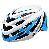 YoLiy Cascos Moto Casco for Montar en Bicicleta Hombres y Mujeres Gorra de Casco de Bicicleta de montaña en Molde Equipo de Casco de Gran tamaño Medida de Seguridad (Color : White Blue, Size : L)