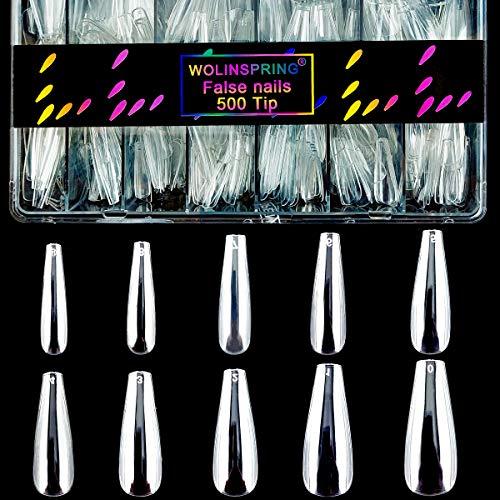 WOLINSPRING 500pcs No-Crease Clear Long Coffin Ballerina Fake Nails Tips Kit Gift Box Artificial Full Cover Shaped Press on Acrylic False Nails Tips with Case for Nail Salon and DIY Nail Art (NA-624)