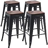 TONGLI Metal Counter Stools Counter Height Bar Stools Set of 4 Metal Bar Stool 30 Inches Dining Stools Backless, Matte Black