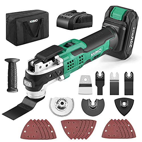 KIMO 20V Cordless Oscillating Tool Kit w/26-Piece Accessories, 21000 OPM Variable Speed & 3° Oscillating Angle, LED & Quick-Change, Battery Powered Multi Tool for Cutting Wood Nail/Scraping/Sanding