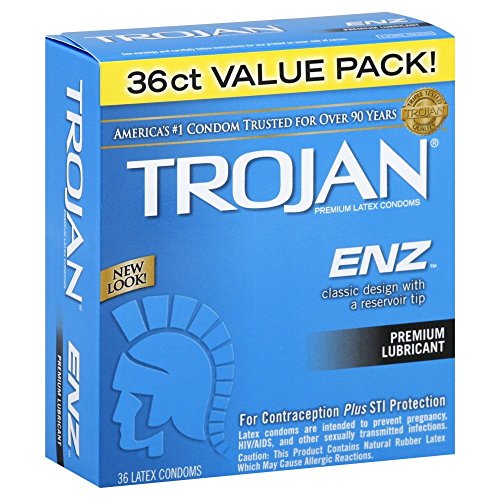 Trojan ENZ Premium Lubricated Condom for Contraception and STI Protection, 36 Count
