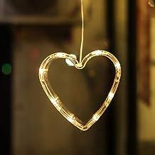 Uonlytech Led-hartvormige raamlamp, met zuignap, voor Kerstmis, Valentijnsdag, 3 stuks