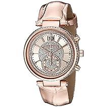Michael Kors MK2445 SAWYER Uhr Damenuhr Lederarmband Edelstahl 50m Analog Datum rosé Zirkonia weiß