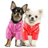 2 Pieces Pet Dog Raincoat Hooded Jacket Poncho Puppy Raincoat Waterproof Dog Rainwear with Safety Reflective Stripes for Small to X-Large Dogs and Puppies (M,Red, Pink)