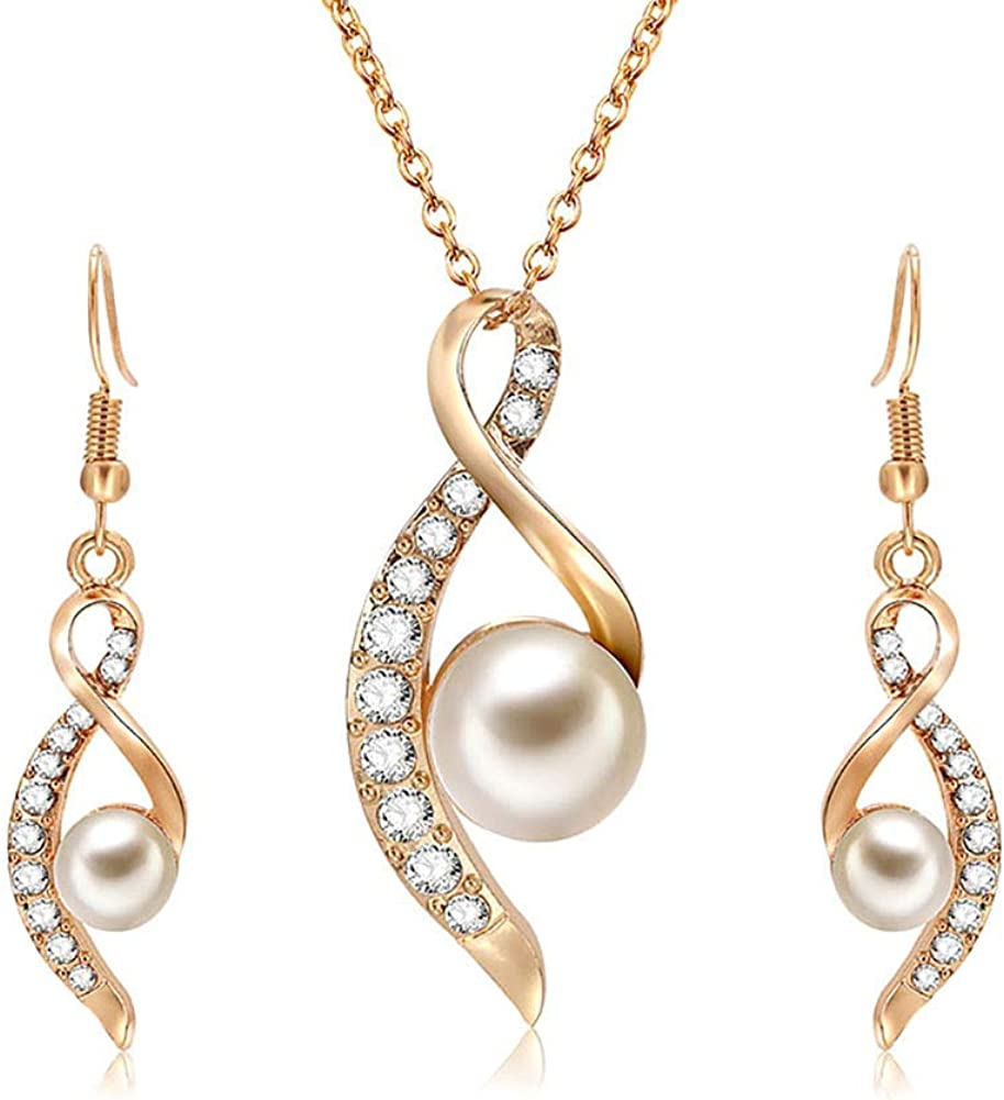 andy cool Fashion Women Necklace Earrings Jewelry Sets Crystal Gold Color Big Simulated Pearl Wedding Party Jewelry Sets for Women