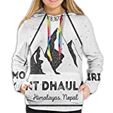 Women's Hoodies Tops,Dhaulagiri Mountain In Himalayas Climbing Tourism Themed Extreme Sports Image,Hoodie Sweatshirt Apparel for Women,Lady, Teens and Girls,Size:M