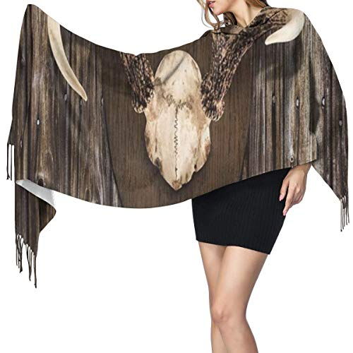 Warm Super Pashmina scarfRustic Home Cottage Cabin Wall With Antlers Hunting Lodge Country House Trophy Print Soft Shawl Stole Wrap with Tassel