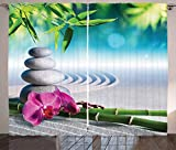 Ambesonne Spa Curtains, Sand Orchid and Massage Stones in Garden Sunny Day Meditation Yoga, Living Room Bedroom Window Drapes 2 Panel Set, 108' X 90', Blue Gray