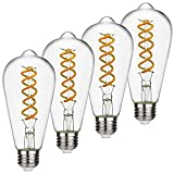 EMITTING ST19(ST58) 6W Vintage Edison LED Bulb, Soft White 2700K, Antique Flexible Spiral LED Filament Light Bulb, Dimmable 600lm, 6W Equivalent to 60W, E26 Base, Clear Glass(ST58-6W- 2700K-4 Pack)