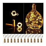 Ehome - Juego de 12 luces de botella de vino con corcho, funciona con pilas, 2,2 m, 20 LED, forma de corcho, color plateado