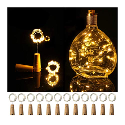 Ehome Wine Bottle Lights with Cork, 12 Pack Starry Fairy Lights Battery Operated, 7.2ft 20LED Cork Shape Silver Copper Wire String Lights for Party Christmas Decoration Halloween Wedding - Warm White