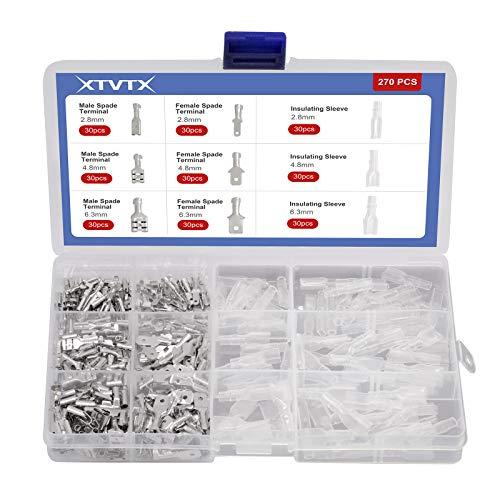 XTVTX 315PCS Flachsteckhülsen Set 2,8 mm 4,8 mm 6,3 mm Männlich Weiblich Flachstecker Spade Kabelschuhe Sleeve Terminal mit Isolierhülse Sleeve Sortiment Kit (Silber)