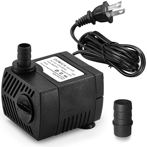 DOMICA 90 GPH Mini Submersible Pump, Small Fountain Pump (5W 350L/H) for Water Feature, Aquariums, Fish Tank, Tabletop Fountain, Pet Fountain, Indoor or Outdoor Pond Fountain