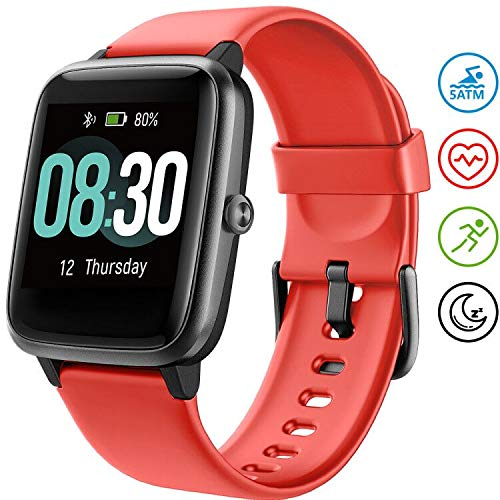 UMIDIGI Smartwatch Fitness Tracker Horloge Uwatch3, Smart Watch Dames Heren Kinderen Pols Hartslagmeter Stappenteller Sport Activity Tracker voor Android iOS (Rood)