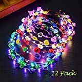 PTHTECHUS 12 PC LED Blumen Kranz Stirnband - Kronen Blumengirlande Boho LED Floral Head Crown für...