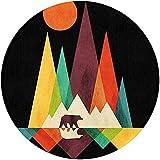 NA Colourful Mountain Bear Nyeusi Mzunguko Sakafu Carpet Anti-Slip Playmat