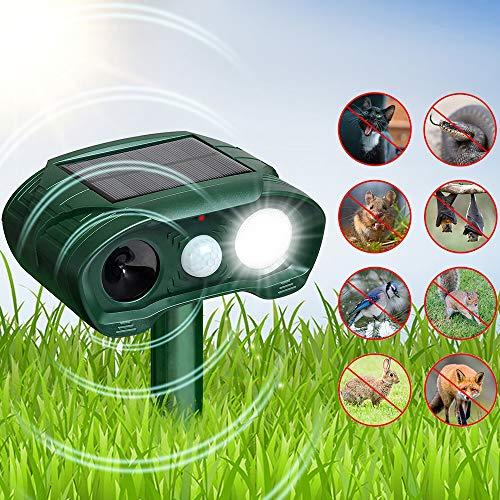 HOPSEM Cat Deterrents for Gardens Bird Cat Scarer Cat Repellent Ultrasonic Solar Powered Pest Animal Repeller Dog Fox Motion Sensor Day Night Flashing Light Modes