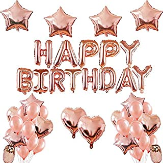 Rose Gold Wedding Birthday Party Balloons Happy Birthday Letter Foil Balloon Baby Shower Anniversary Event Party Decor Sup...