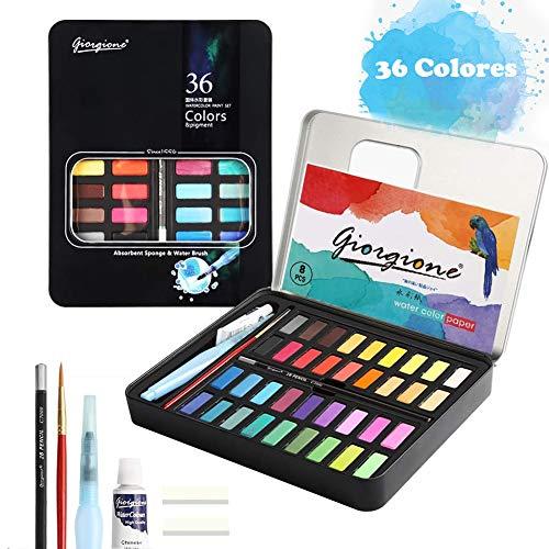 Pintura de Acuarela, con 36 Colores Vivos, Kit de Acuarela Profesional de Gouache con Pincel de Agua para Pintura, diseño artístico y Juegos de Regalo